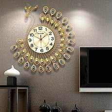 21 inch 3d mute large metal peacock wall clock home decor