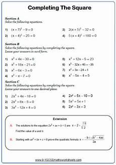 completing the square maths worksheet matematika