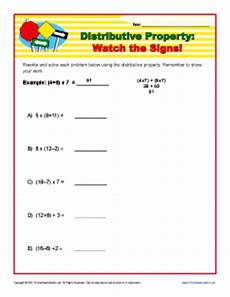 distributive property watch the signs 6th 7th grade worksheets