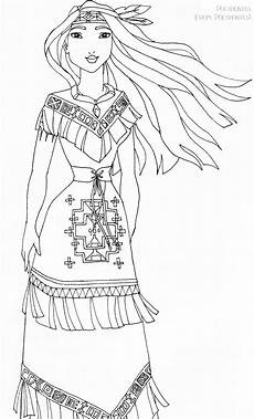 pocahontas deluxe gown lineart by ladyamber on deviantart