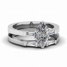 marquise shaped diamond wedding ring in 14k white gold