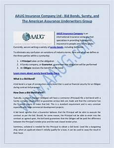 bid bond aaug insurance company ltd bid bonds surety and the