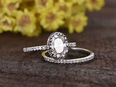1 5 carat oval moissanite wedding sets 14k white gold