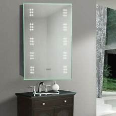 wall mounted bathroom cabinet mirror cupboard with white led light shaver socket ebay