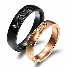 his and her promise rings crystal black gold couple rings wedding band rings ebay