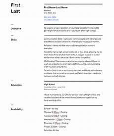 high school resume no work experience