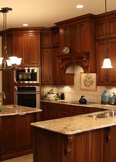 Decorating Ideas Cherry Cabinets by Cherry Kitchen Cabinets With Gray Wall And Quartz