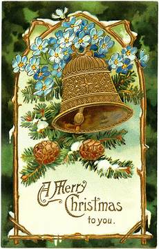 vintage christmas bell postcard old design shop blog