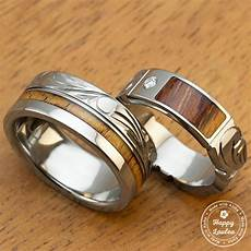 pair of 6 8mm assorted titanium couple wedding rings with koa inlay engraved with