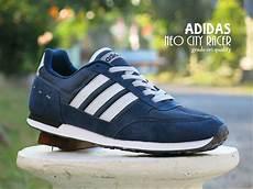 jual sepatu adidas neo city racer grade ori biru navy dongker sport casual kets pria cowok