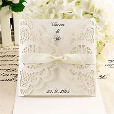 10 diy wedding invitations laser cut out lace envelope w ribbon vintage chic ebay