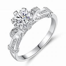 crystal ring simple four claw zircon wedding finger ring accessories for