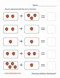 addition worksheet for kindergarten printable 9276 preschool addition worksheet1 คณ ตศาสตร ช นอน บาล ก จกรรมเสร มท กษะเร ยนร เด กอ อน การศ กษา