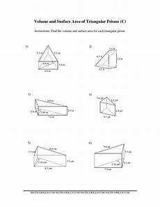 measurement area and volume worksheets 1628 the volume and surface area of triangular prisms c math worksheet from the measurement