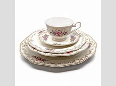 """Royalty Porcelain """"Ruby Rose"""" 5 Piece White & Gold Floral"""