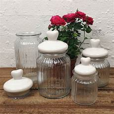 Kitchen Glass Jars by Glass Storage Jars With Lid Ribbed Food Sweet Spice