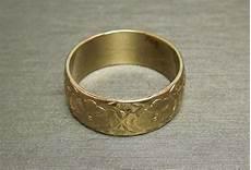 14kt gold 7mm engraved floral eternity wedding band c1930