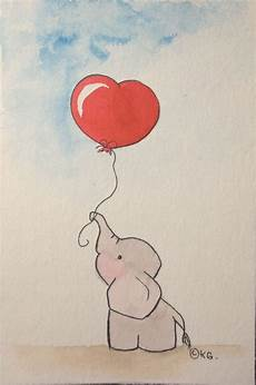 dessin aquarelle facile the elephant with watercolor on paper size 10 x