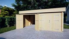 modern wooden garage f with flat roof 44mm 6 x