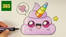 comment dessiner un emoji crotte licorne kawaii dessiner