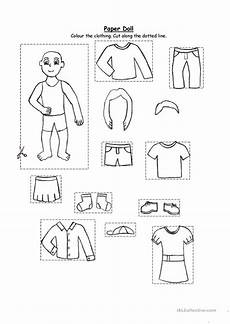 paper doll clothing for kindergarten and 1st graders worksheet free esl printable