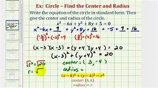 ex 1 write general equation of a circle in standard form