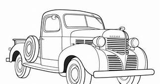 Old Trucks Coloring  Pickup Plow Colouring Pages