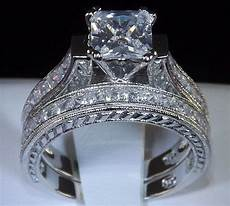 wedding rings for women princess cut 2 83 princess cut engagement wedding ring set womens diamond simulated size 9 ebay