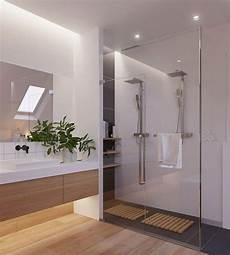 Trennwand Glas Bad - skandinavisch einrichten badezimmer bodengleiche dusche