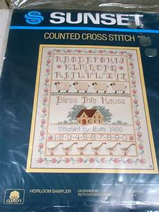 vitnage counted cross stitch kit 2923 sunset 1985 bless this house geese sheep ebay
