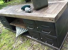 meubles tv industriel bois et m 233 tal l or du temps avec