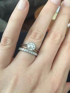 looking for ideas for wedding band with bezel engagement ring weddingbee