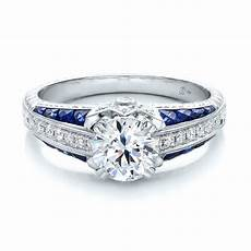 diamond and blue sapphire engagement ring 100390