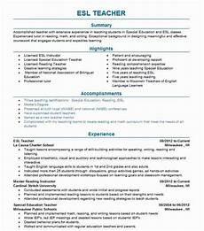 resumes for esl teachers free resume templates