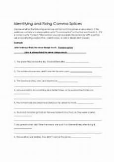 grammar worksheets comma splices worksheet 3 16 exercises 24726 commas worksheets