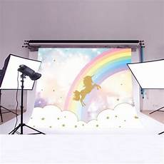 5x3ft 7x5ft Rainbow Gold Unicorn Photography by 5x3ft 7x5ft Rainbow Sky Gold Unicorn Photography Backdrop
