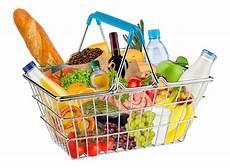 shopping lebensmittel isolated shopping basket filled with food stock photo