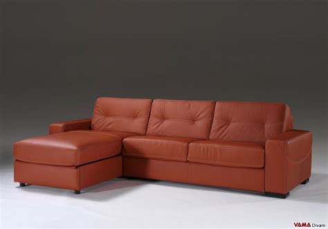 Corner Sofa Bed In Leather With Storage