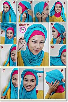 Tutorial Jilbab Pashmina Simpel Dua Warna