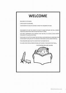welcome letter worksheet free esl printable worksheets
