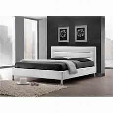 lit lit feenix 160x200 cm en simili cuir coloris blanc