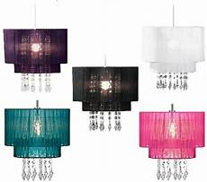 riband voile beaded pendant acrylic droplet ceiling light l shade chandelier ebay