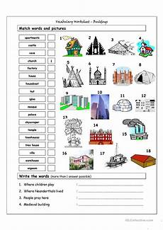 vocabulary matching worksheet buildings english esl
