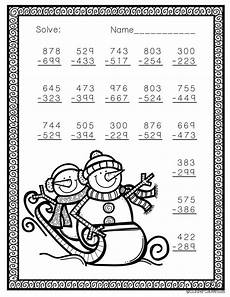 winter worksheets for second grade 19925 free three digit subtraction with regrouping winter theme 3 nbt 2 math worksheets