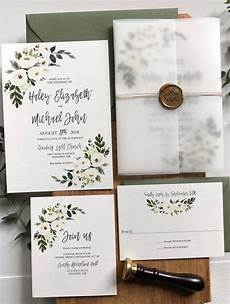 vellum wedding invitations floral white flower wedding