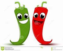 Happy Cartoon Red And Green Chili Pepper Stock Vector