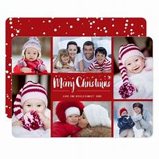 merry christmas stars holiday photo collage card zazzle