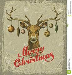 merry christmas vintage christmas card deer stock vector illustration of drawn ornamental