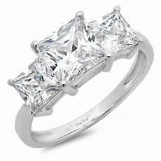 3 25 ct three stone princess cut ring engagement wedding band 14k white gold ebay
