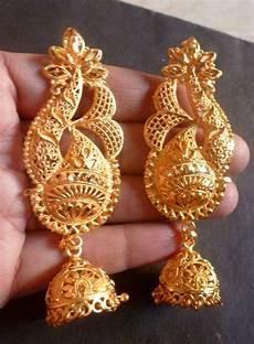 wedding 22k gold plated full ear earrings with jhumka party wear 2 ebay